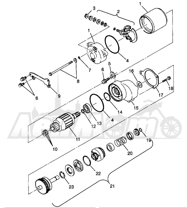 Запчасти для Квадроцикла Polaris 1996 SCRAMBLER - W967840 Раздел: STARTING MOTOR SCRAMBLER W967840 | электростартер SCRAMBLER W967840