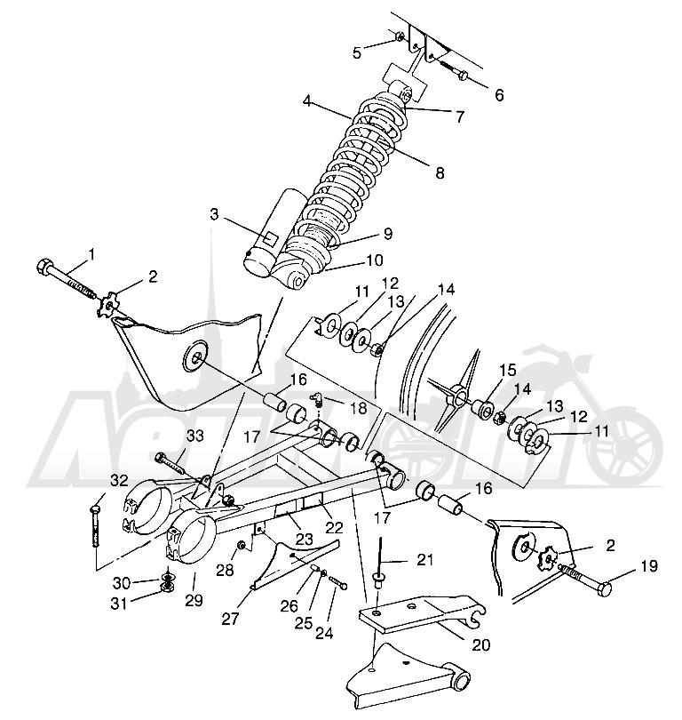 Запчасти для Квадроцикла Polaris 1996 SCRAMBLER - W967840 Раздел: SWING ARM/SHOCK MOUNTING SCRAMBLER W967840   маятник/амортизатор крепления SCRAMBLER W967840