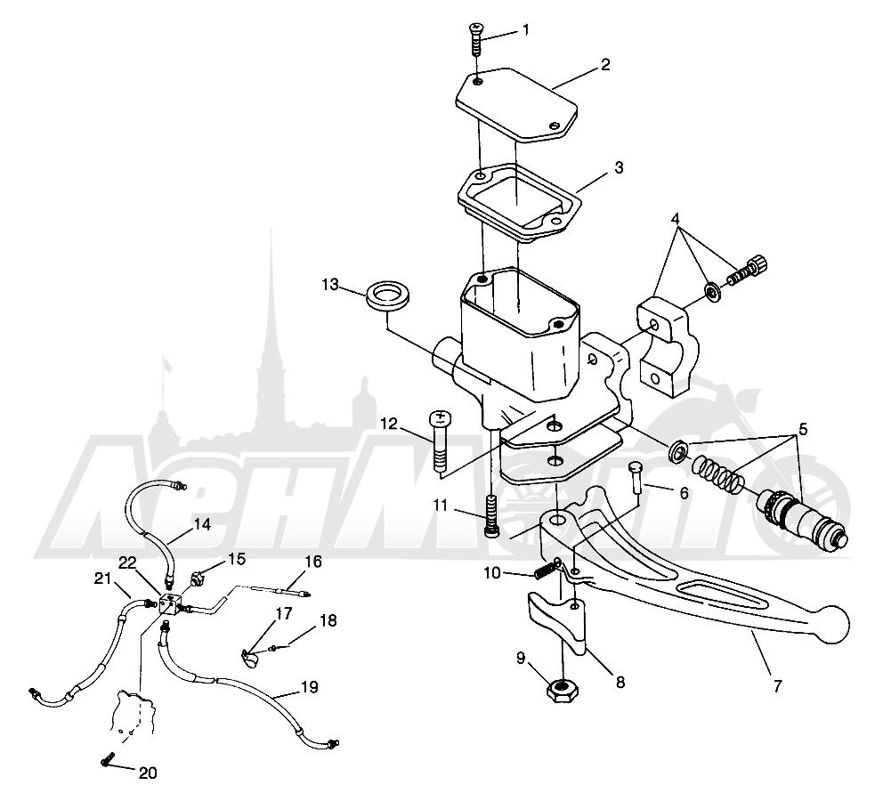 Запчасти для Квадроцикла Polaris 1996 SPORT 400L - W968540 Раздел: CONTROLS - MASTER CYLINDER/BRAKE LINE - W968540   органы управления главный цилиндр/тормозной шланг W968540