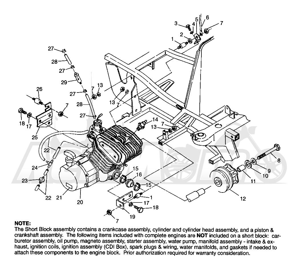 Запчасти для Квадроцикла Polaris 1996 SPORT 400L - W968540 Раздел: ENGINE MOUNTING (BLAZER) - W967827 | двигатель крепления (BLAZER) W967827