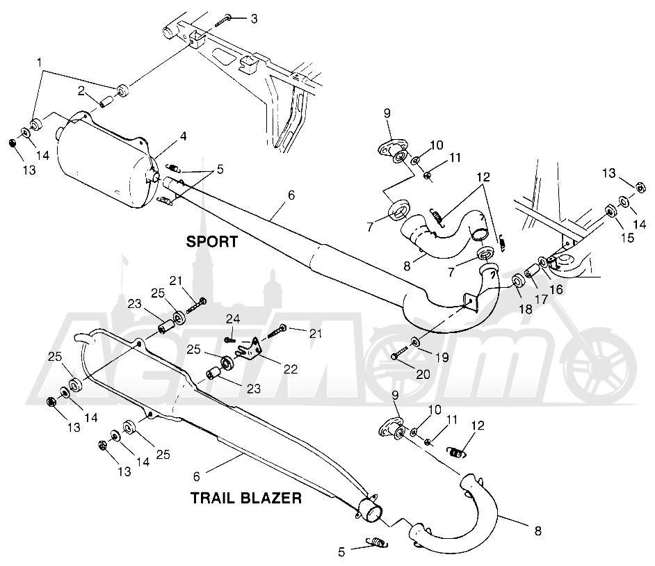 Запчасти для Квадроцикла Polaris 1996 SPORT 400L - W968540 Раздел: EXHAUST SYSTEM - W968540 | выпускная система W968540