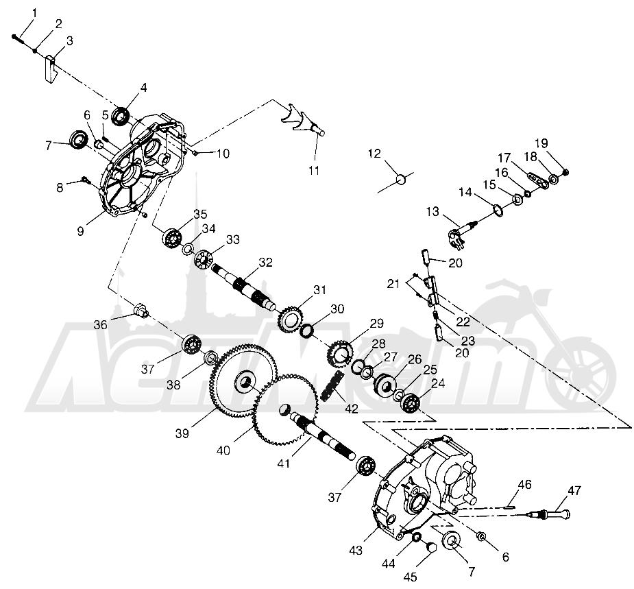 Запчасти для Квадроцикла Polaris 1996 SPORT 400L - W968540 Раздел: GEARCASE - W968540 | коробка передач W968540