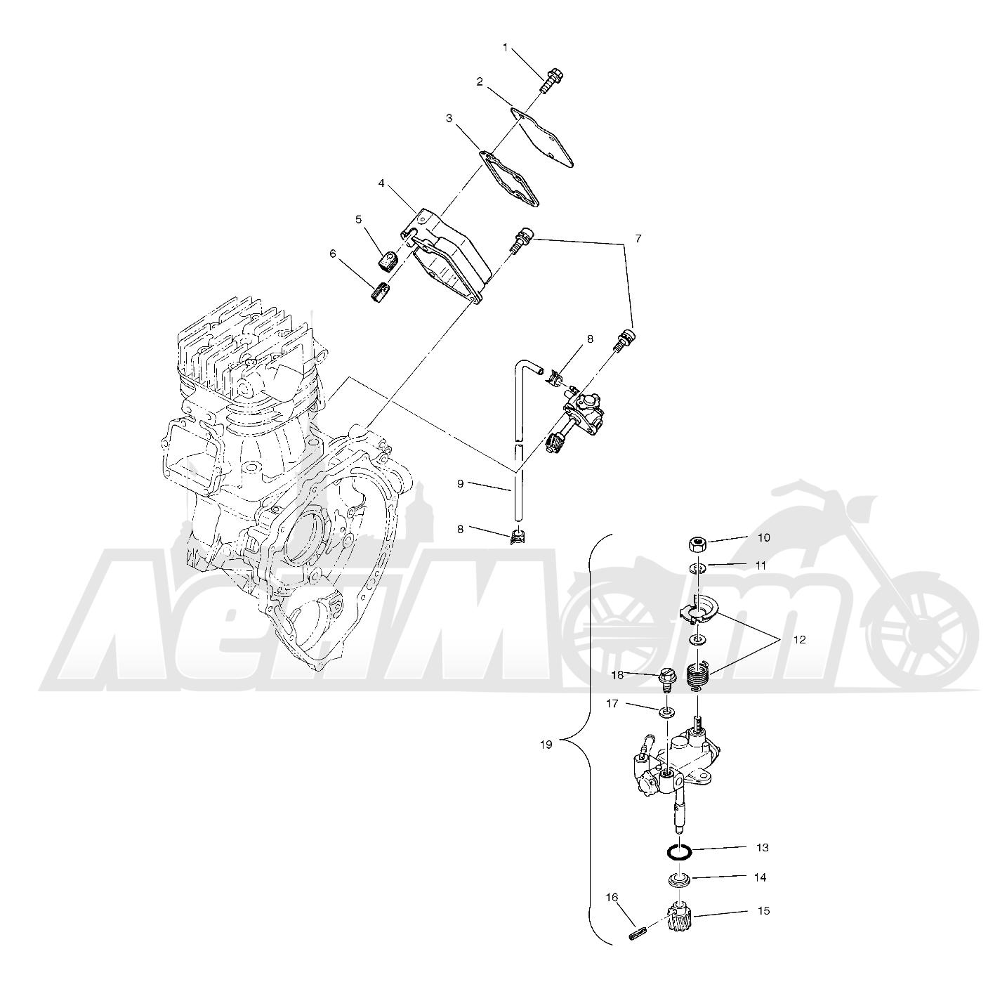 Запчасти для Квадроцикла Polaris 1996 SPORT 400L - W968540 Раздел: OIL PUMP (SPORT) - W968540   маслянный насос (спорт) W968540