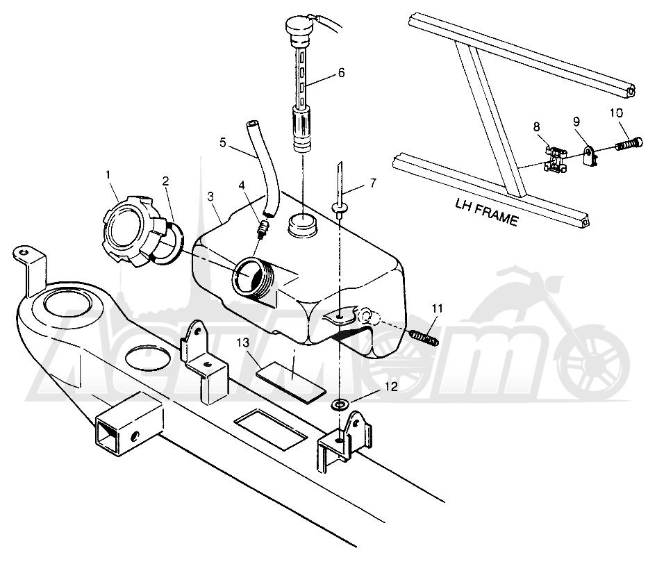 Запчасти для Квадроцикла Polaris 1996 SPORT 400L - W968540 Раздел: OIL TANK - W968540 | маслобак W968540