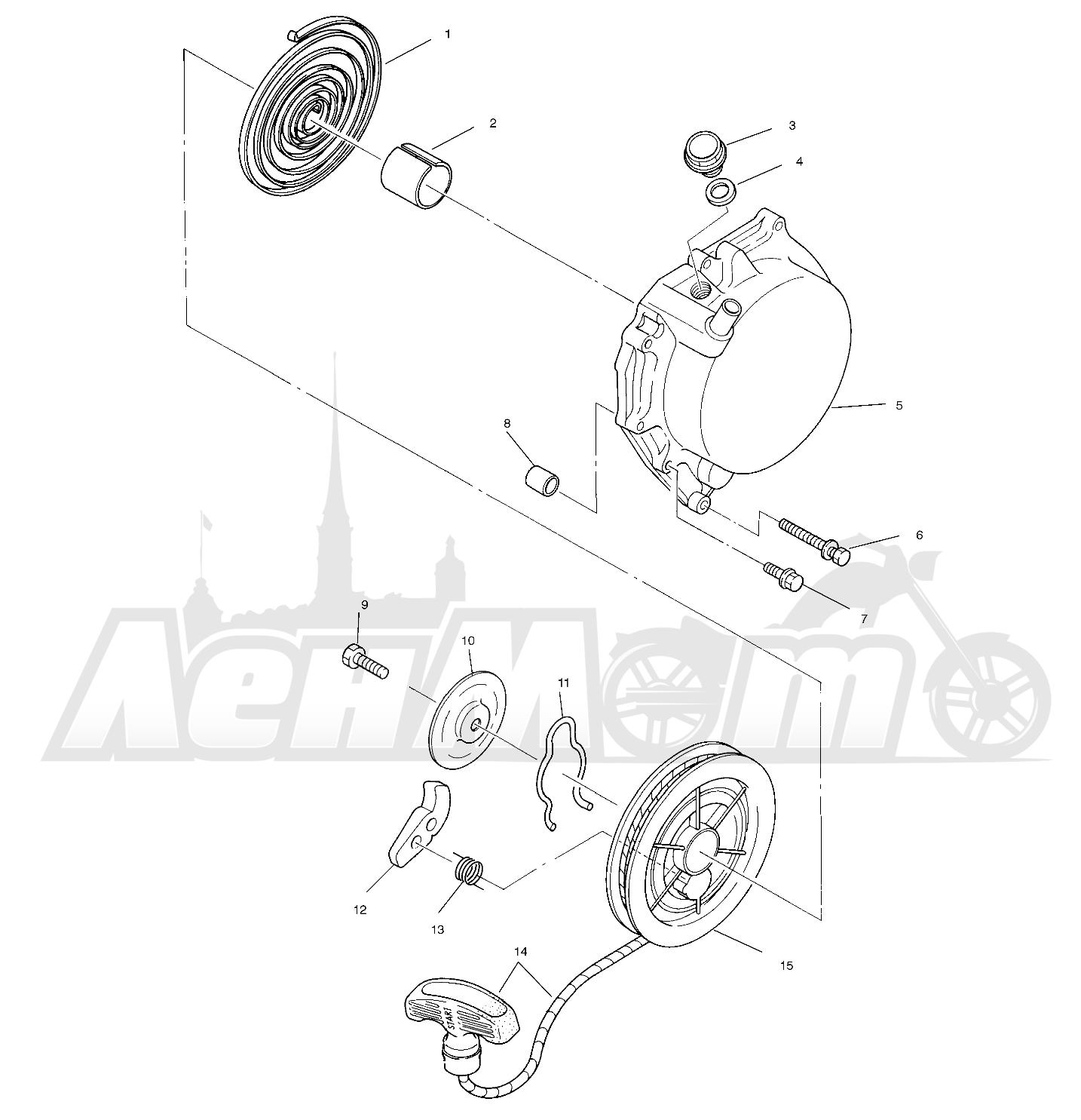 Запчасти для Квадроцикла Polaris 1996 SPORT 400L - W968540 Раздел: RECOIL STARTER (SPORT) - W968540 | ручной стартер (спорт) W968540