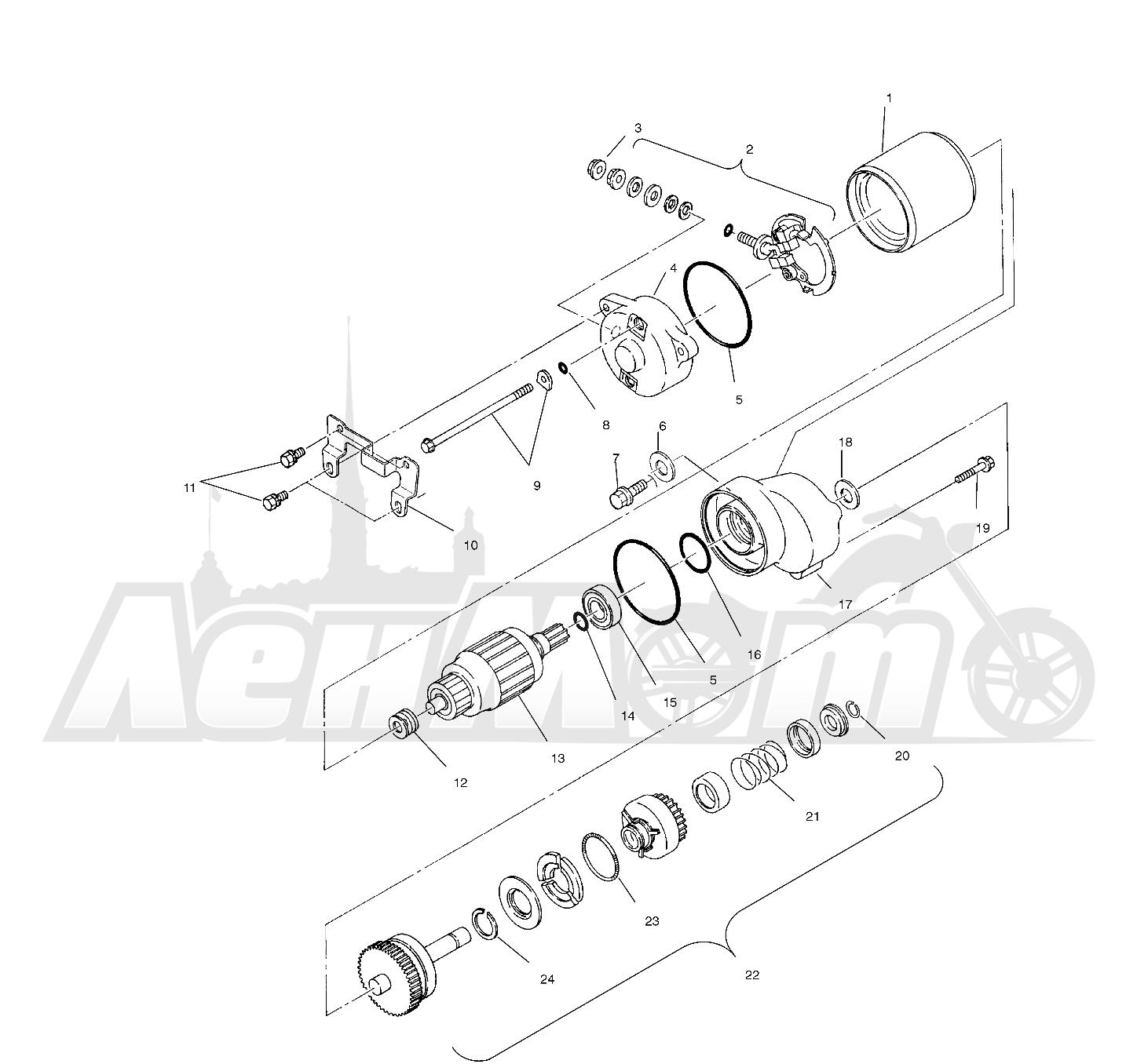 Запчасти для Квадроцикла Polaris 1996 SPORT 400L - W968540 Раздел: STARTING MOTOR (BLAZER) - W967827 | электростартер (BLAZER) W967827