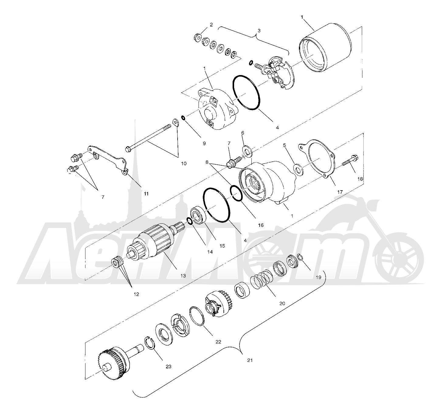 Запчасти для Квадроцикла Polaris 1996 SPORT 400L - W968540 Раздел: STARTING MOTOR (SPORT) - W968540 | электростартер (спорт) W968540