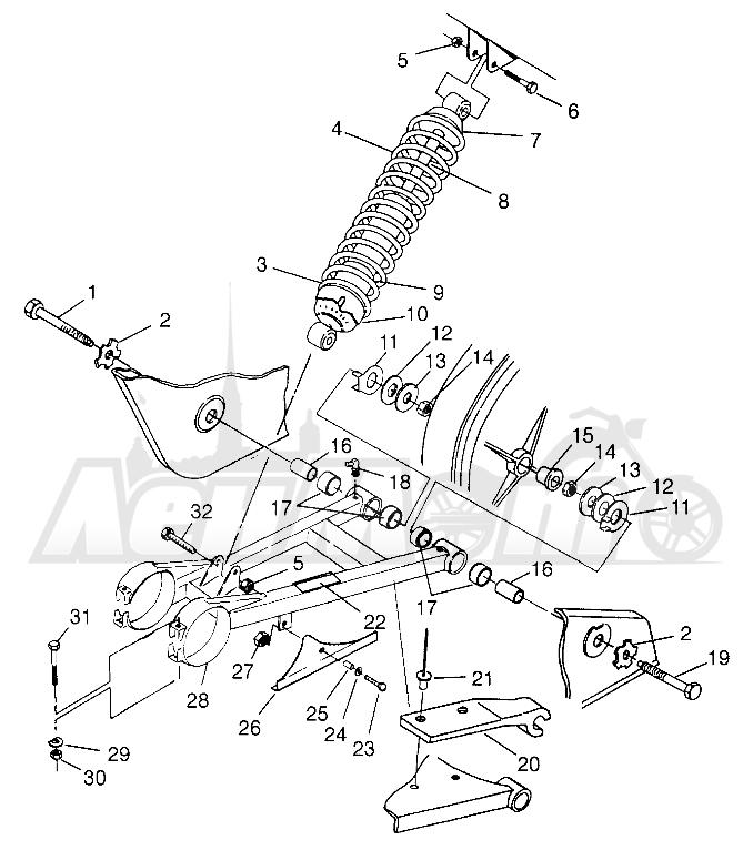 Запчасти для Квадроцикла Polaris 1996 SPORT 400L - W968540 Раздел: SWING ARM/SHOCK MOUNTING - W968540 | маятник/амортизатор крепления W968540