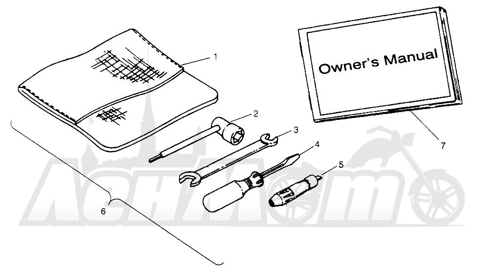 Запчасти для Квадроцикла Polaris 1996 SPORT 400L - W968540 Раздел: TOOL KIT - W968540   комплект инструмента W968540
