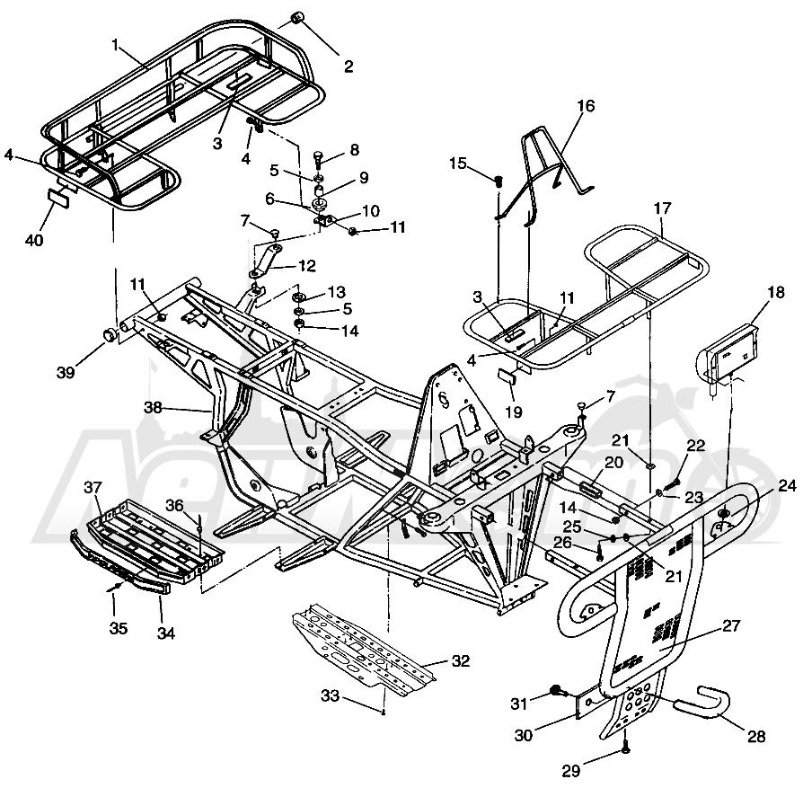Запчасти для Квадроцикла Polaris 1996 SPORTSMAN 4X4 - W968040 Раздел: BUMPER/RACK MOUNTING SPORTSMAN 4X4 W968040 | бампер/багажник крепления SPORTSMAN 4X4 W968040