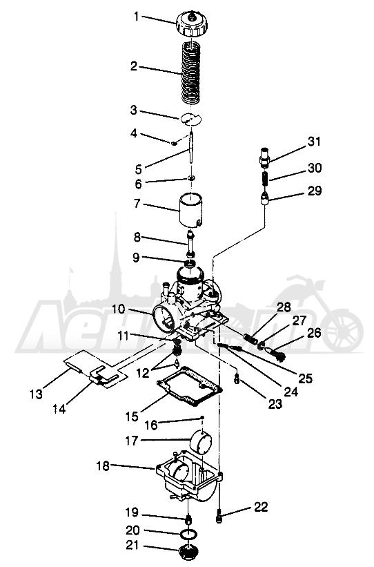 Запчасти для Квадроцикла Polaris 1996 SPORTSMAN 4X4 - W968040 Раздел: CARBURETOR SPORTSMAN 4X4 W968040   карбюратор SPORTSMAN 4X4 W968040