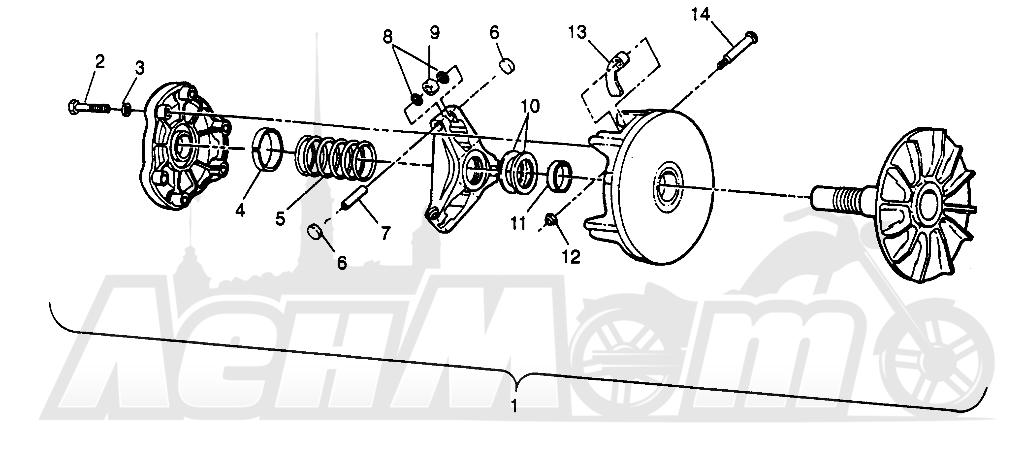 Запчасти для Квадроцикла Polaris 1996 SPORTSMAN 4X4 - W968040 Раздел: DRIVE CLUTCH SPORTSMAN 4X4 W968040 | ведущий вариатор SPORTSMAN 4X4 W968040