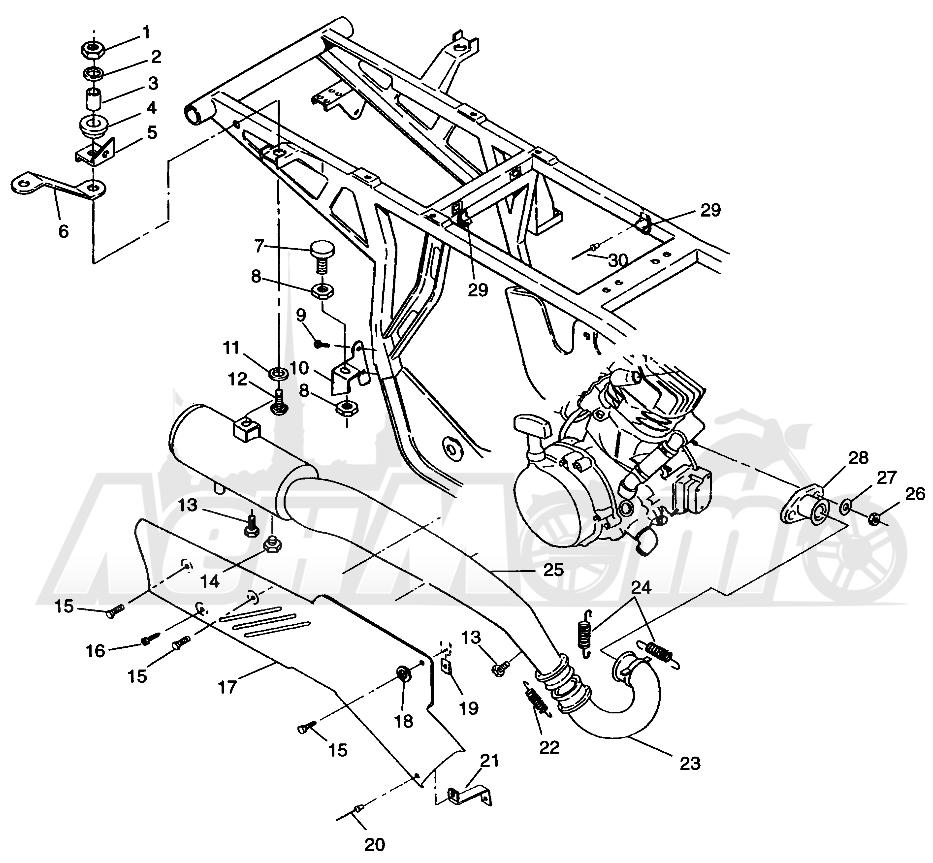 Запчасти для Квадроцикла Polaris 1996 SPORTSMAN 4X4 - W968040 Раздел: EXHAUST SYSTEM SPORTSMAN 4X4 W968040 | выпускная система SPORTSMAN 4X4 W968040