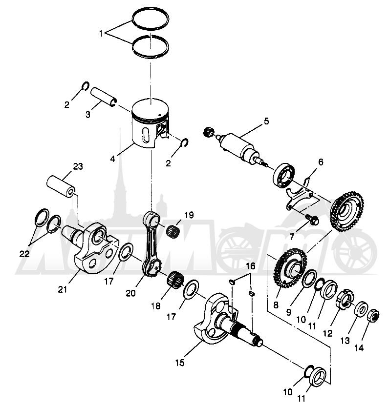 Запчасти для Квадроцикла Polaris 1996 SPORTSMAN 4X4 - W968040 Раздел: PISTON AND CRANKSHAFT SPORTSMAN 4X4 W968040 | поршень и коленвал SPORTSMAN 4X4 W968040