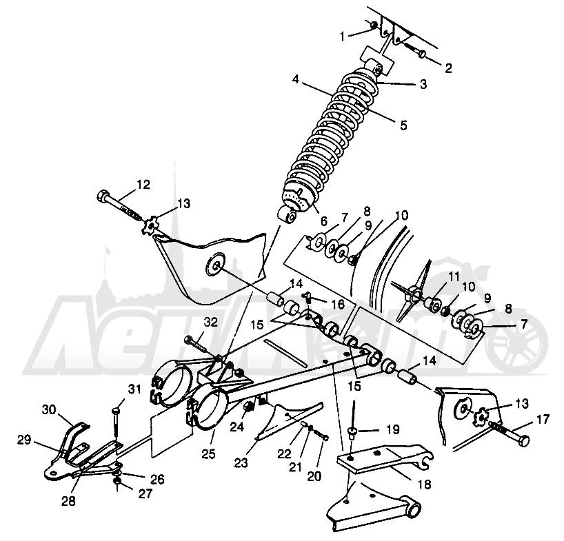 Запчасти для Квадроцикла Polaris 1996 SPORTSMAN 4X4 - W968040 Раздел: SWING ARM/SHOCK MOUNTING SPORTSMAN 4X4 W968040 | маятник/амортизатор крепления SPORTSMAN 4X4 W968040