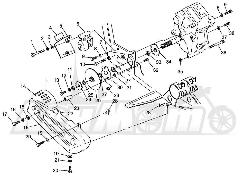 Запчасти для Квадроцикла Polaris 1996 SWEDISH MAGNUM 4X4 - S968144 Раздел: GEARCASE/BRAKE AND CHAIN COVER MOUNTING MAGNUM 4X4 W968144 AND SWEDISH MAGN | коробка передач/тормоза и цепь крышка крепления MAGNUM 4X4 W968144 и SWEDISH MAGN