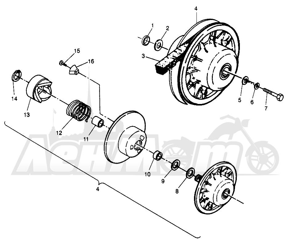 Запчасти для Квадроцикла Polaris 1996 SWEDISH SPORTSMAN 500 - S969244 Раздел: DRIVEN CLUTCH SPORTSMAN 500 W969244   ведомый вариатор SPORTSMAN 500 W969244