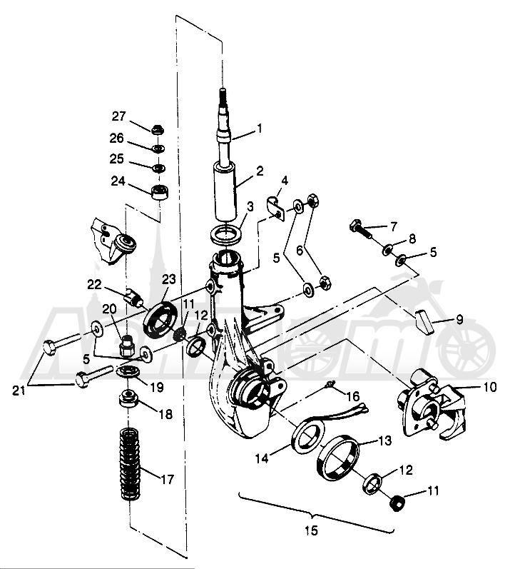 Запчасти для Квадроцикла Polaris 1996 SWEDISH SPORTSMAN 500 - S969244 Раздел: FRONT STRUT SPORTSMAN 500 W969244 | перед стойка SPORTSMAN 500 W969244