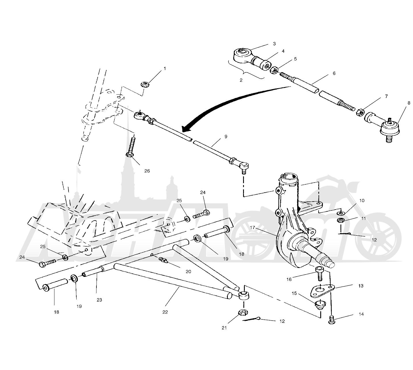 Запчасти для Квадроцикла Polaris 1996 TRAIL BLAZER ES - W967827 Раздел: A - ARM/STRUT MOUNTING - W968540   A рычаг/стойка крепления W968540