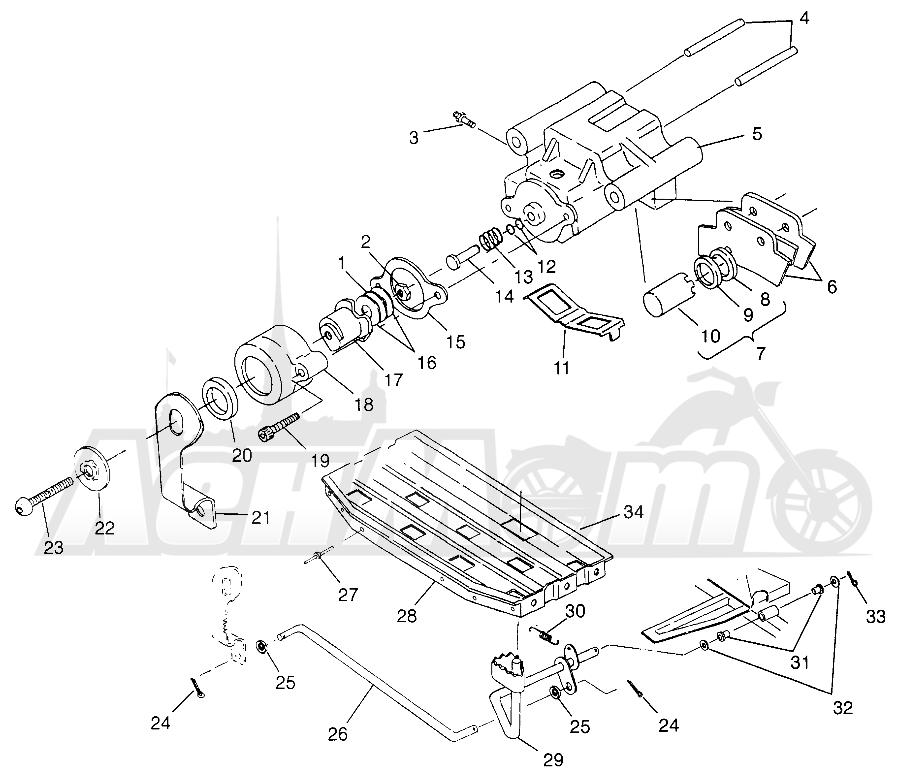 Запчасти для Квадроцикла Polaris 1996 TRAIL BLAZER ES - W967827 Раздел: BRAKES, REAR - W968540 | тормоза, зад W968540