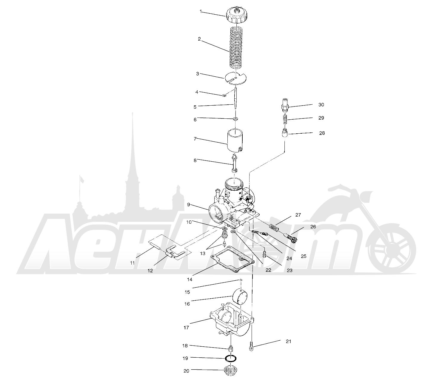 Запчасти для Квадроцикла Polaris 1996 TRAIL BLAZER ES - W967827 Раздел: CARBURETOR (BLAZER) - W967827 | карбюратор (BLAZER) W967827