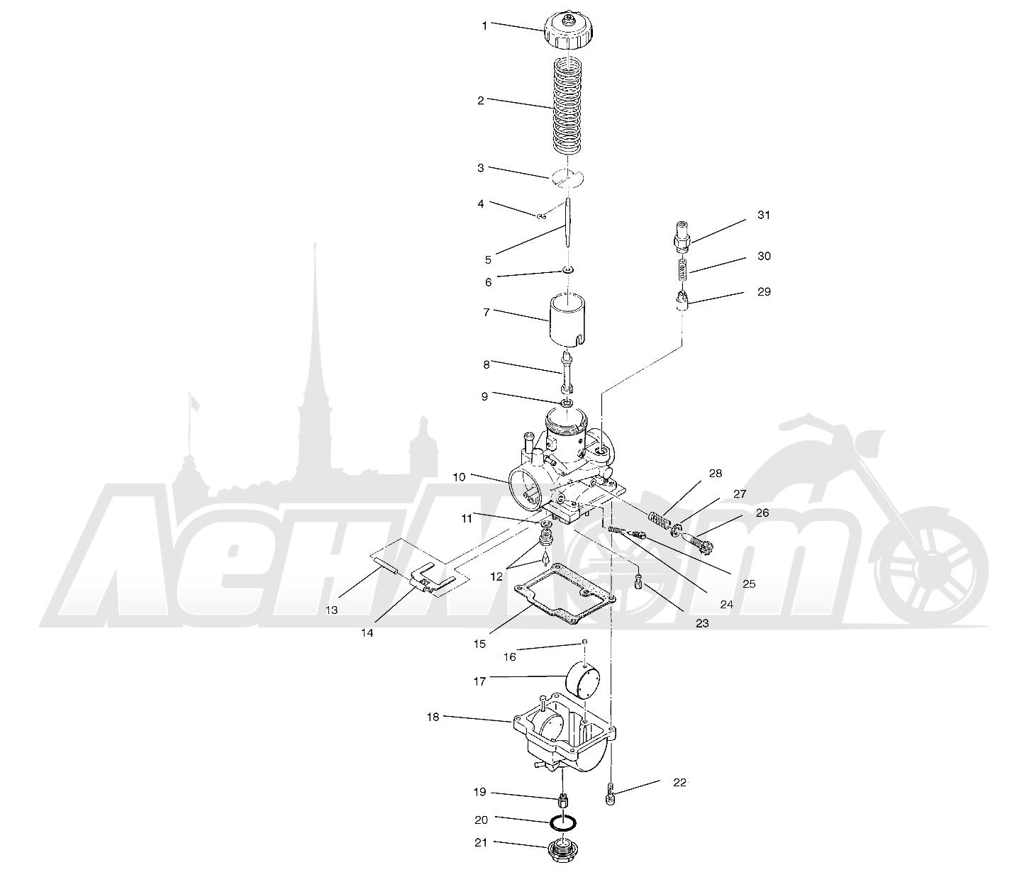Запчасти для Квадроцикла Polaris 1996 TRAIL BLAZER ES - W967827 Раздел: CARBURETOR (SPORT) - W968540   карбюратор (спорт) W968540