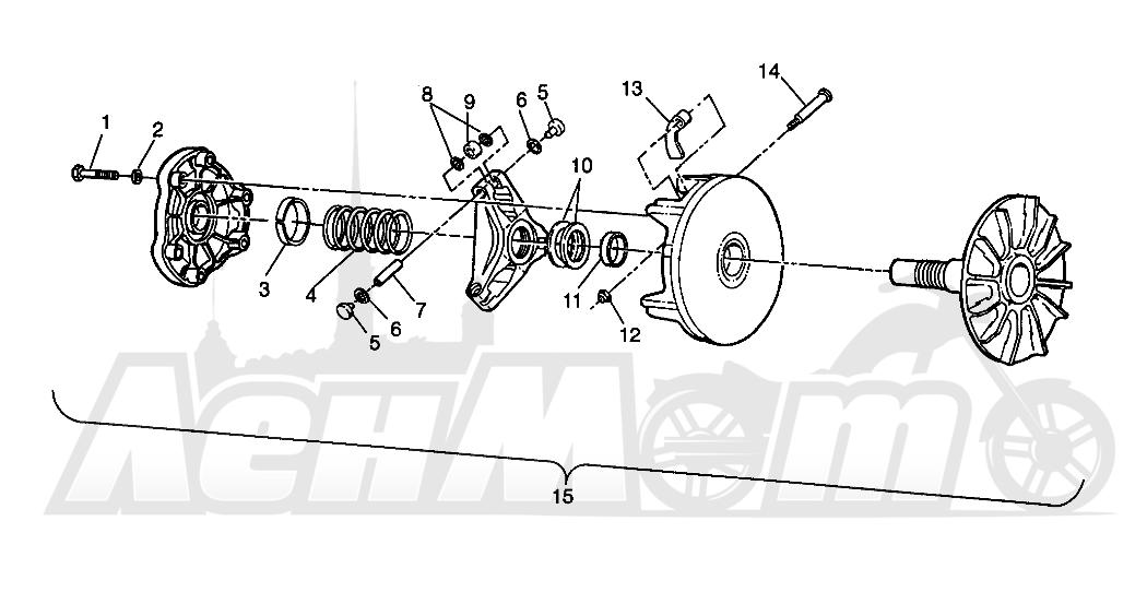Запчасти для Квадроцикла Polaris 1996 TRAIL BLAZER ES - W967827 Раздел: DRIVE CLUTCH - W968540 | ведущий вариатор W968540