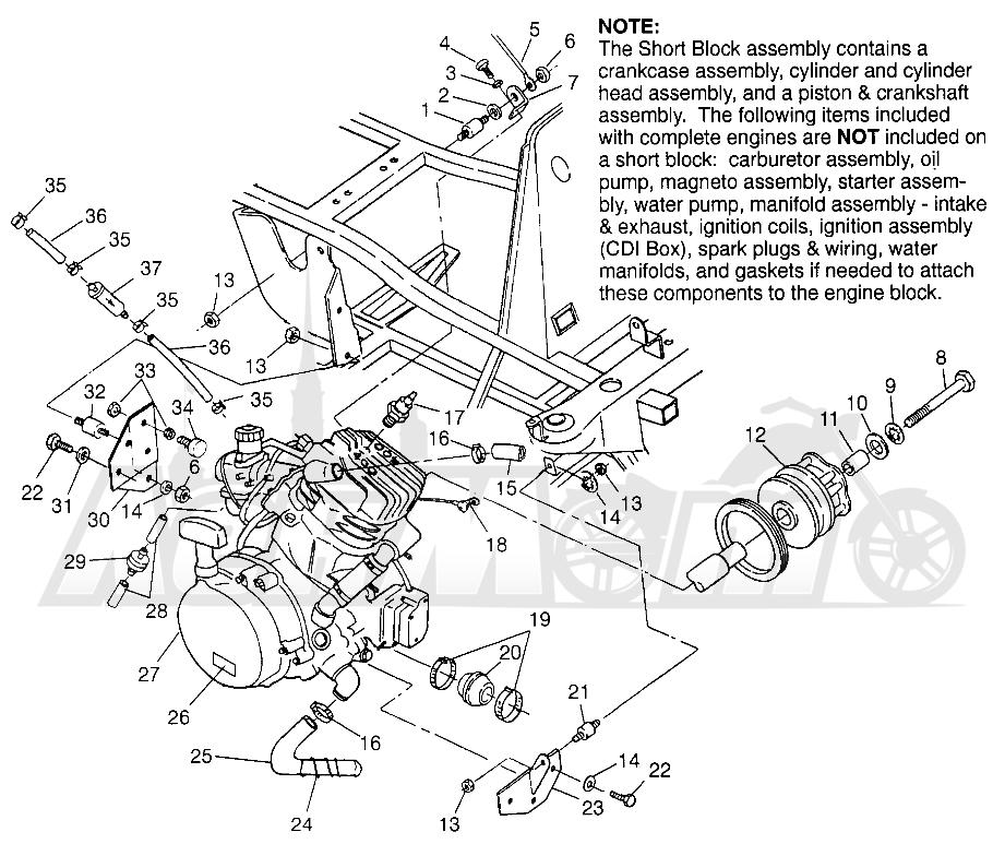 Запчасти для Квадроцикла Polaris 1996 TRAIL BLAZER ES - W967827 Раздел: ENGINE MOUNTING (SPORT) - W968540 | двигатель крепления (спорт) W968540
