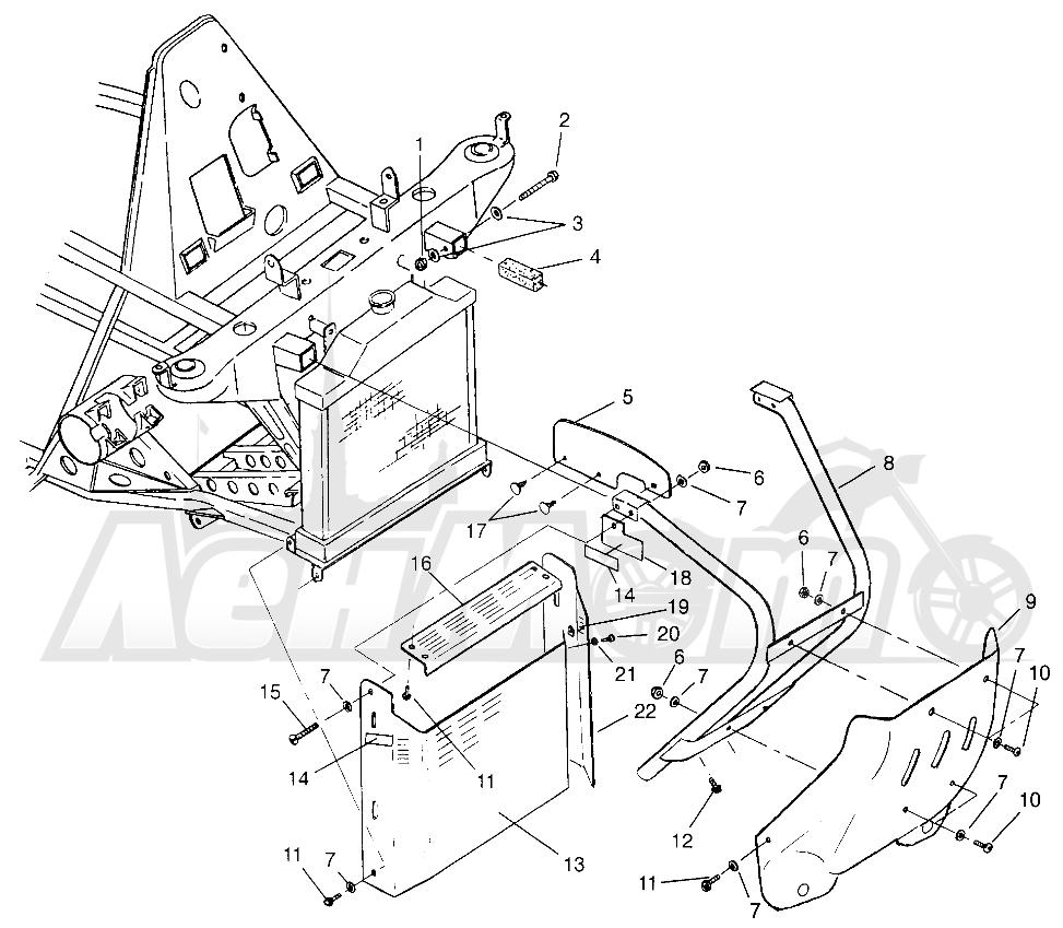 Запчасти для Квадроцикла Polaris 1996 TRAIL BLAZER ES - W967827 Раздел: FRONT BUMPER AND SHIELDS - W968540 | перед бампер и экраны W968540