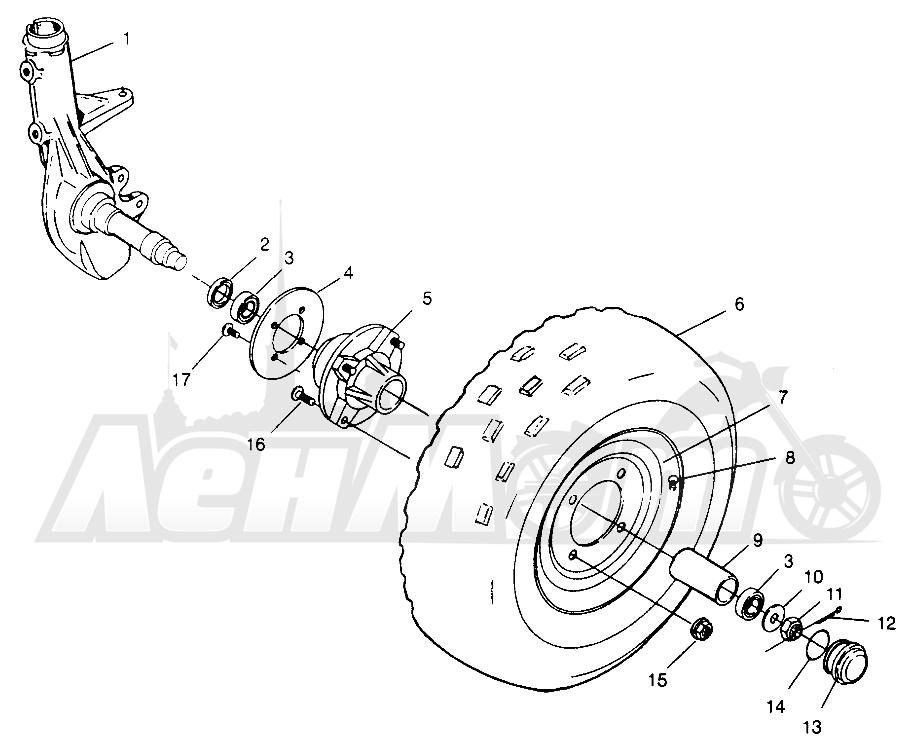 Запчасти для Квадроцикла Polaris 1996 TRAIL BLAZER ES - W967827 Раздел: FRONT WHEEL - W968540 | переднее колесо W968540