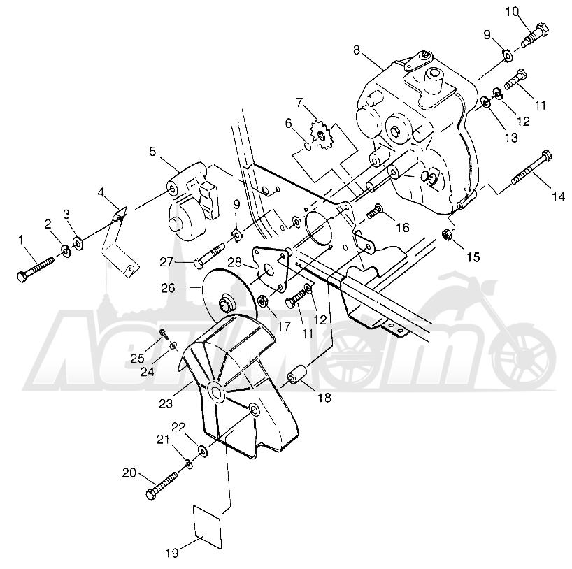Запчасти для Квадроцикла Polaris 1996 TRAIL BLAZER ES - W967827 Раздел: GEARCASE/BRAKE MOUNTING - W968540 | коробка передач/тормоза крепления W968540