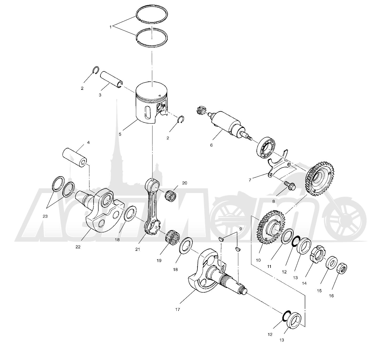 Запчасти для Квадроцикла Polaris 1996 TRAIL BLAZER ES - W967827 Раздел: PISTON AND CRANKSHAFT (SPORT) - W968540 | поршень и коленвал (спорт) W968540