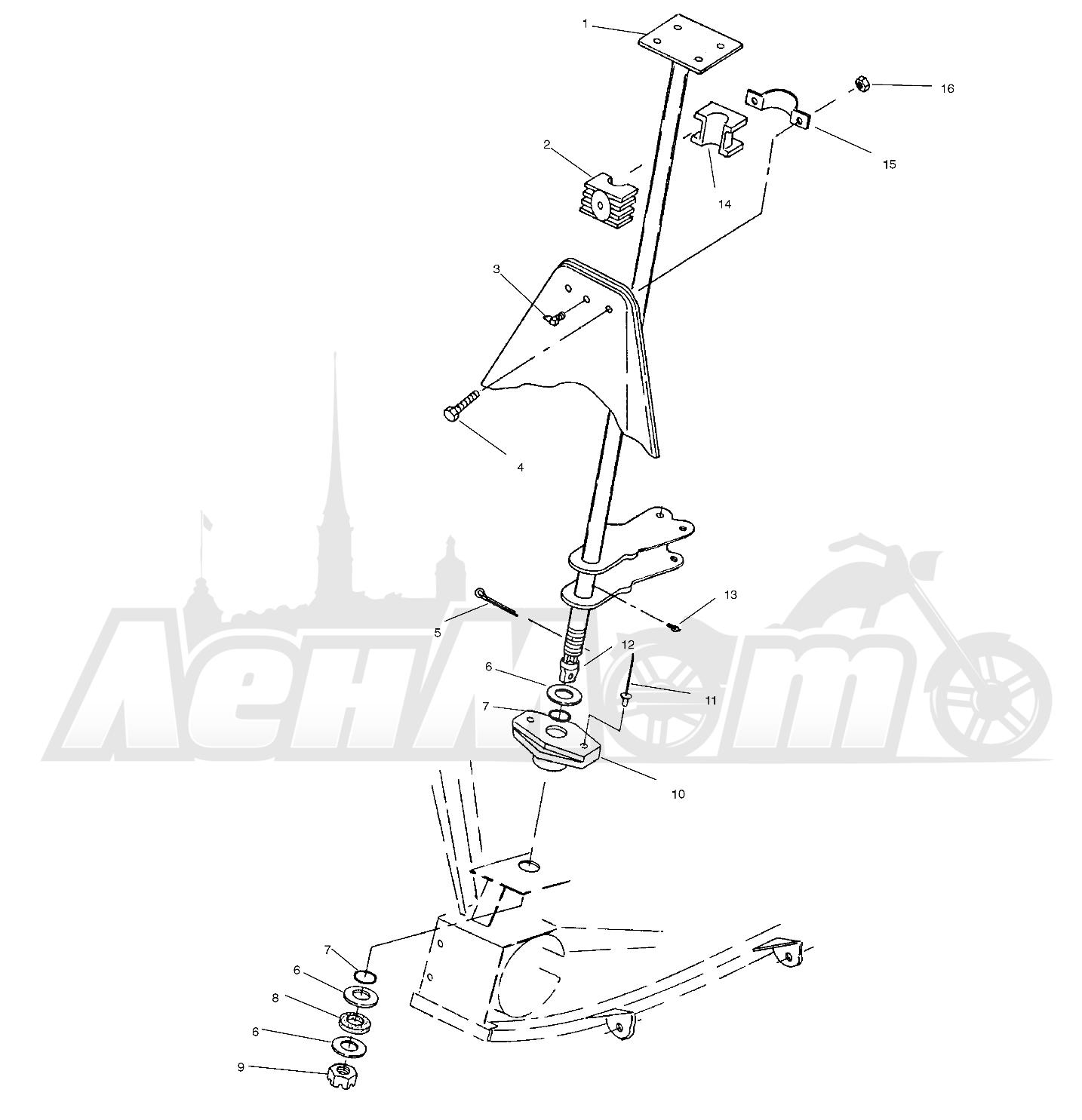 Запчасти для Квадроцикла Polaris 1996 TRAIL BLAZER ES - W967827 Раздел: STEERING POST - W968540 | рулевое управление стойка W968540