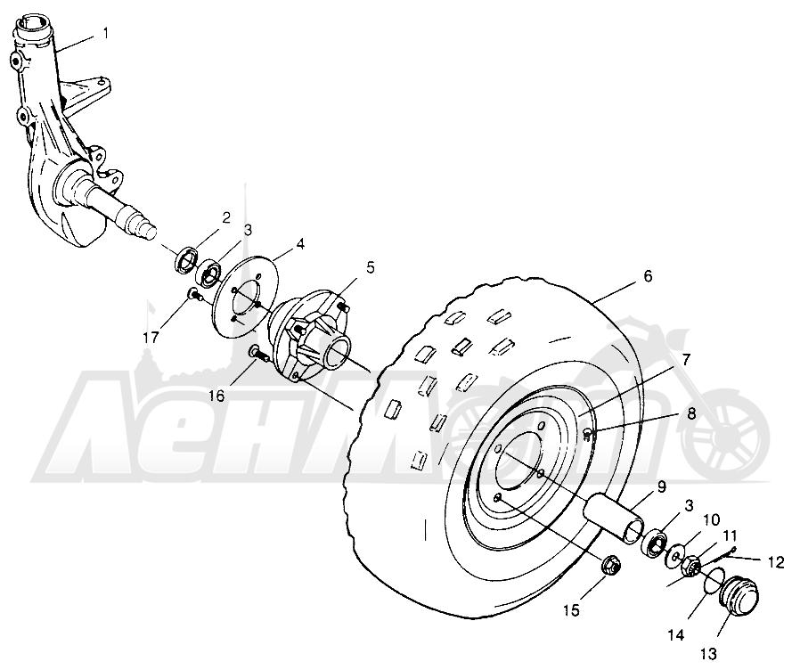 Запчасти для Квадроцикла Polaris 1996 TRAIL BOSS - W968527 Раздел: FRONT WHEEL TRAIL BOSS W968527   переднее колесо TRAIL BOSS W968527