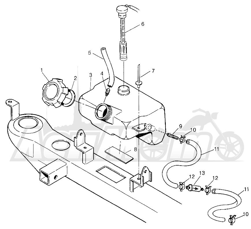 Запчасти для Квадроцикла Polaris 1996 TRAIL BOSS - W968527 Раздел: OIL TANK TRAIL BOSS W968527   маслобак TRAIL BOSS W968527