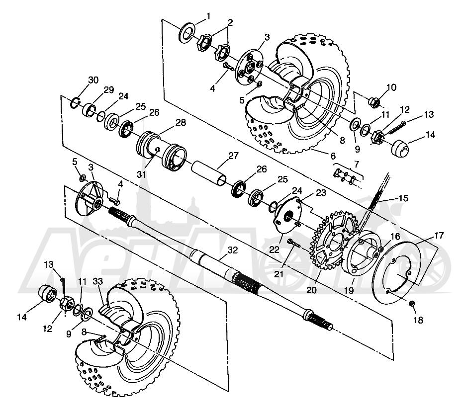 Запчасти для Квадроцикла Polaris 1996 TRAIL BOSS - W968527 Раздел: REAR WHEEL DRIVE TRAIL BOSS W968527 | заднее колесо привод TRAIL BOSS W968527