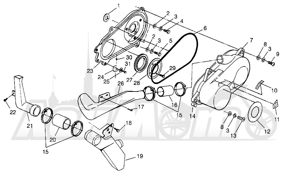 Запчасти для Квадроцикла Polaris 1996 XPLORER 300 - W969130 Раздел: CLUTCH COVER XPLORER 300 W969130 | сцепление крышка XPLORER 300 W969130