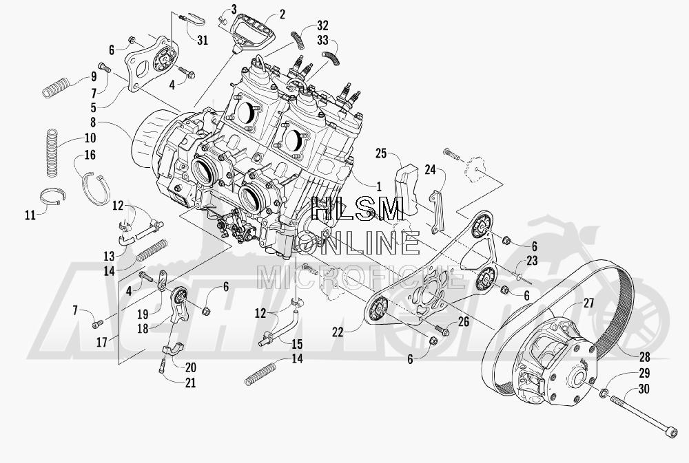 Запчасти для Снегохода Arctic Cat 2008 M1000 EFI 153'' (BLACK) Раздел: ENGINE AND RELATED PARTS | двигатель и связанные детали
