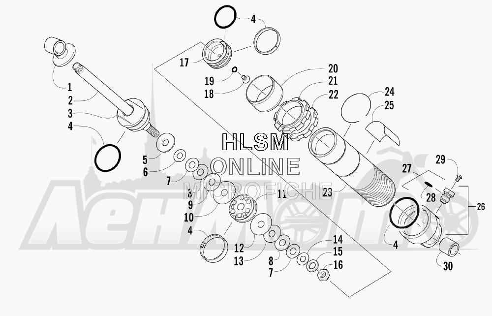 Запчасти для Снегохода Arctic Cat 2008 M1000 EFI 153'' (BLACK) Раздел: REAR SUSPENSION FRONT ARM SHOCK ABSORBER | задняя подвеска передний рычаг амортизатор