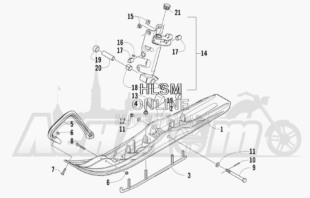Запчасти для Снегохода Arctic Cat 2008 M1000 EFI 153'' (BLACK) Раздел: SKI AND SPINDLE ASSEMBLY | лыжа и шпиндель в сборе