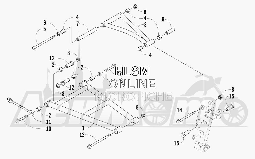 Запчасти для Снегохода Arctic Cat 2008 M1000 EFI 153'' (ORANGE) Раздел: A-ARM ASSEMBLY | A рычаг в сборе