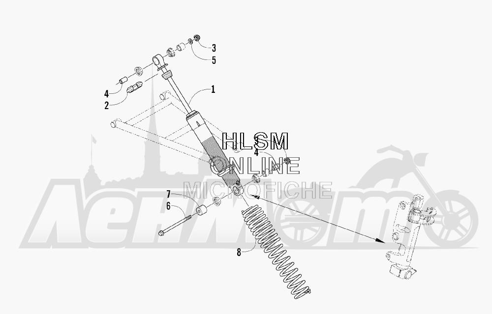Запчасти для Снегохода Arctic Cat 2008 M1000 EFI 153'' (ORANGE) Раздел: FRONT SUSPENSION SHOCK ABSORBER ASSEMBLY   передняя подвеска амортизатор в сборе