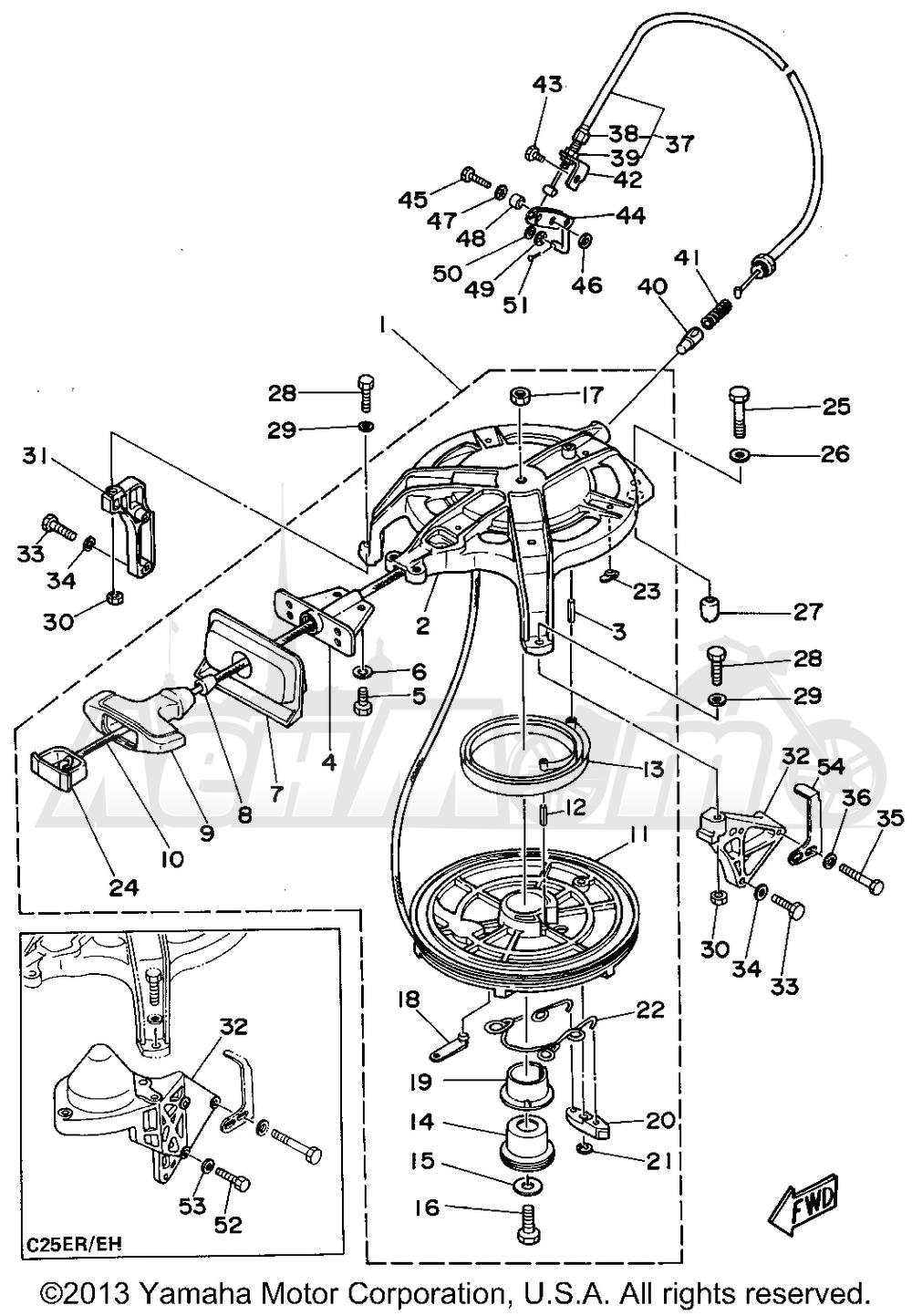 Лодочный мотор ямаха 25 схема