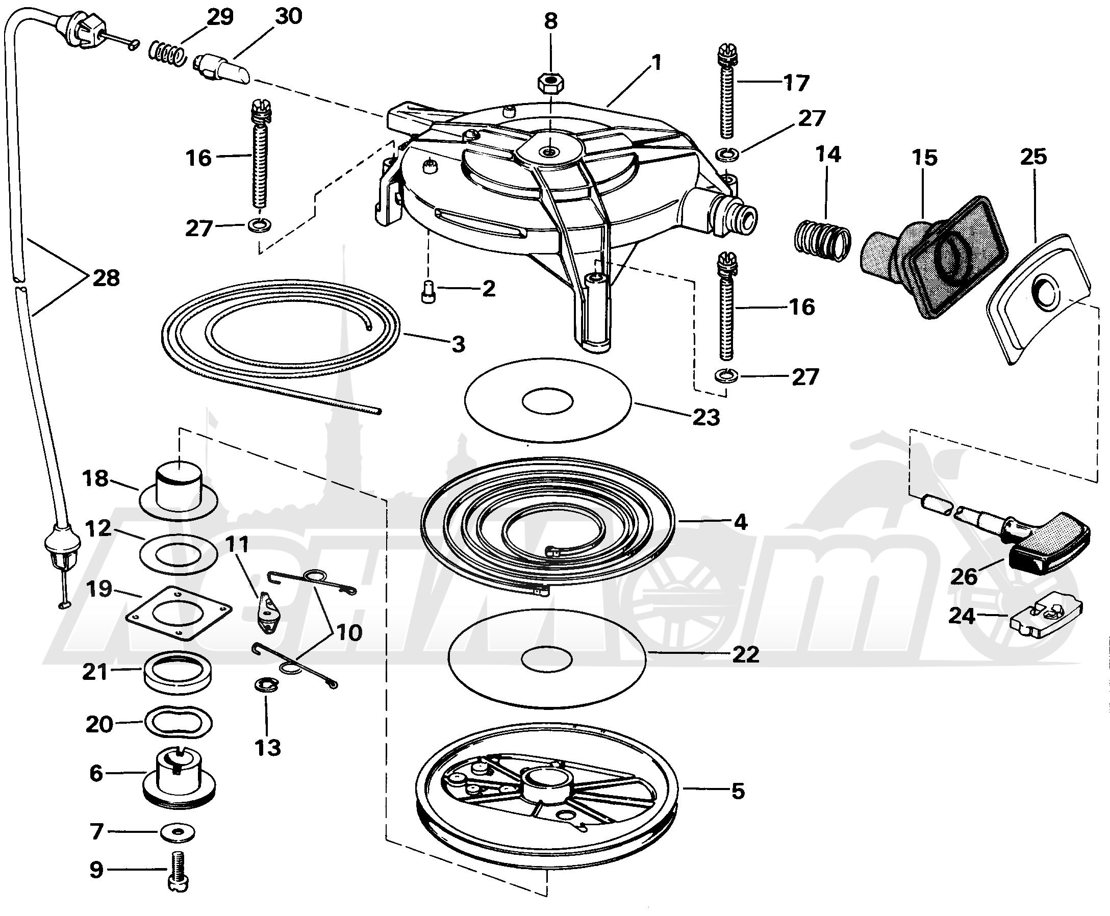 сборка ручного стартера лодочного мотора